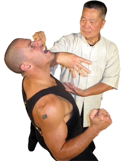 Sifu David Chin demonstrates a Tibetan Hop Gar application on Sifu Chris Heintzman.